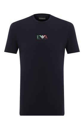 Мужская хлопковая футболка EMPORIO ARMANI темно-синего цвета, арт. 6H1T71/1J11Z   Фото 1