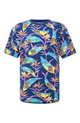 Мужская хлопковая футболка MOSCHINO синего цвета, арт. V1908/2316 | Фото 1