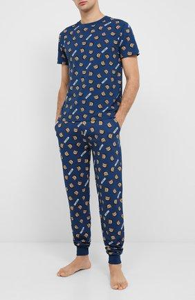 Мужские хлопковая футболка MOSCHINO синего цвета, арт. A1908/8105 | Фото 2