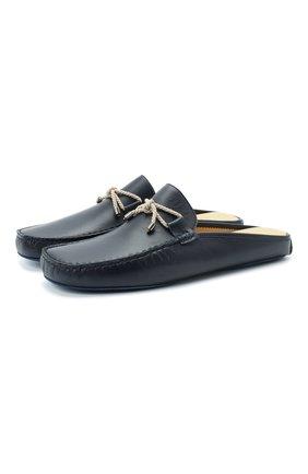 Мужского домашние кожаные туфли FRETTE синего цвета, арт. 20199132 00F 90325 | Фото 1