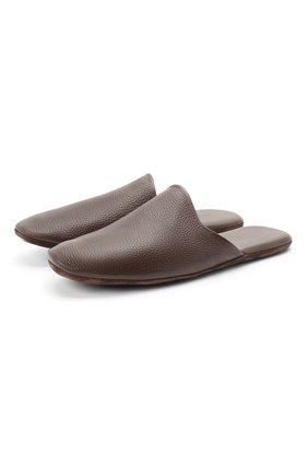 Мужского домашние кожаные туфли FRETTE темно-коричневого цвета, арт. 20199140 00F 90326 | Фото 1