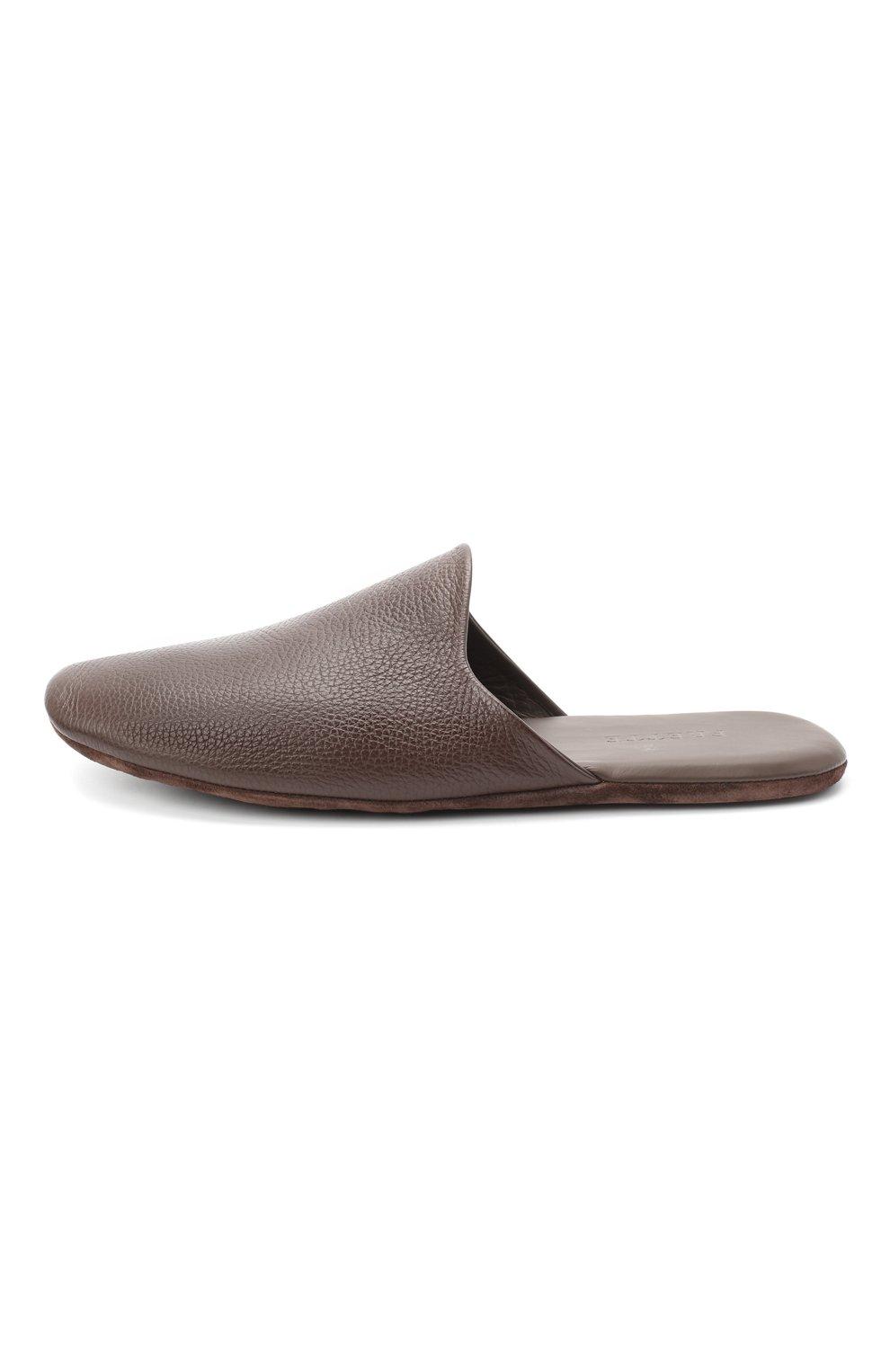 Мужского домашние кожаные туфли FRETTE темно-коричневого цвета, арт. 20199140 00F 90326   Фото 3
