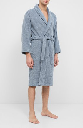 Мужской хлопковый халат FRETTE синего цвета, арт. FR6243 D2060 G02L | Фото 2