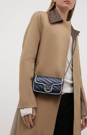 Женская сумка gg marmont 2.0 GUCCI темно-синего цвета, арт. 574969/00LFN | Фото 2