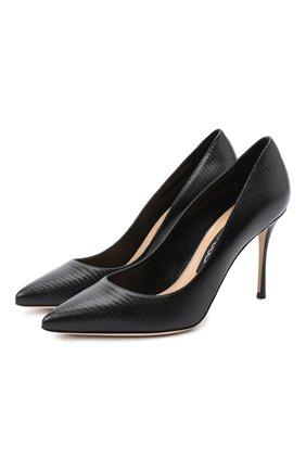 Женская кожаные туфли godiva SERGIO ROSSI черного цвета, арт. A43843-MAGS03 | Фото 1