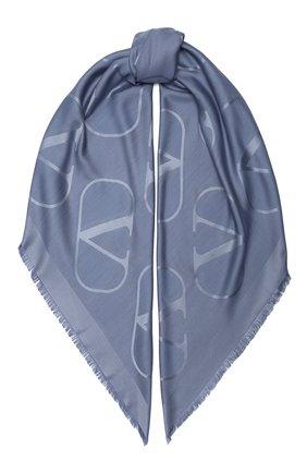 Женская шаль из шелка и шерсти valentino garavani VALENTINO голубого цвета, арт. UW2EB104/AJB   Фото 1