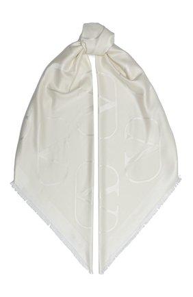 Женская шаль из шелка и шерсти valentino garavani VALENTINO кремвого цвета, арт. UW2EB104/AJB   Фото 1