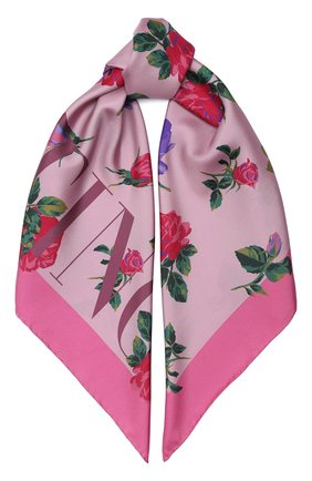 Женский шелковый платок valentino garavani VALENTINO розового цвета, арт. UW2EI114/PSC | Фото 1
