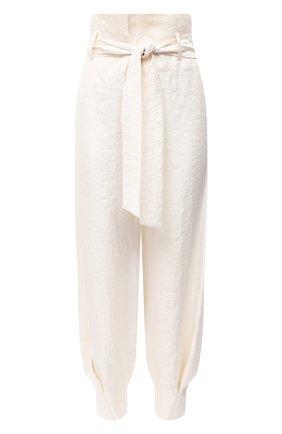 Женские брюки с поясом KALMANOVICH бежевого цвета, арт. SS2011 | Фото 1