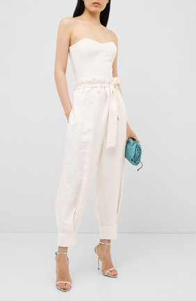 Женские брюки с поясом KALMANOVICH бежевого цвета, арт. SS2011 | Фото 2