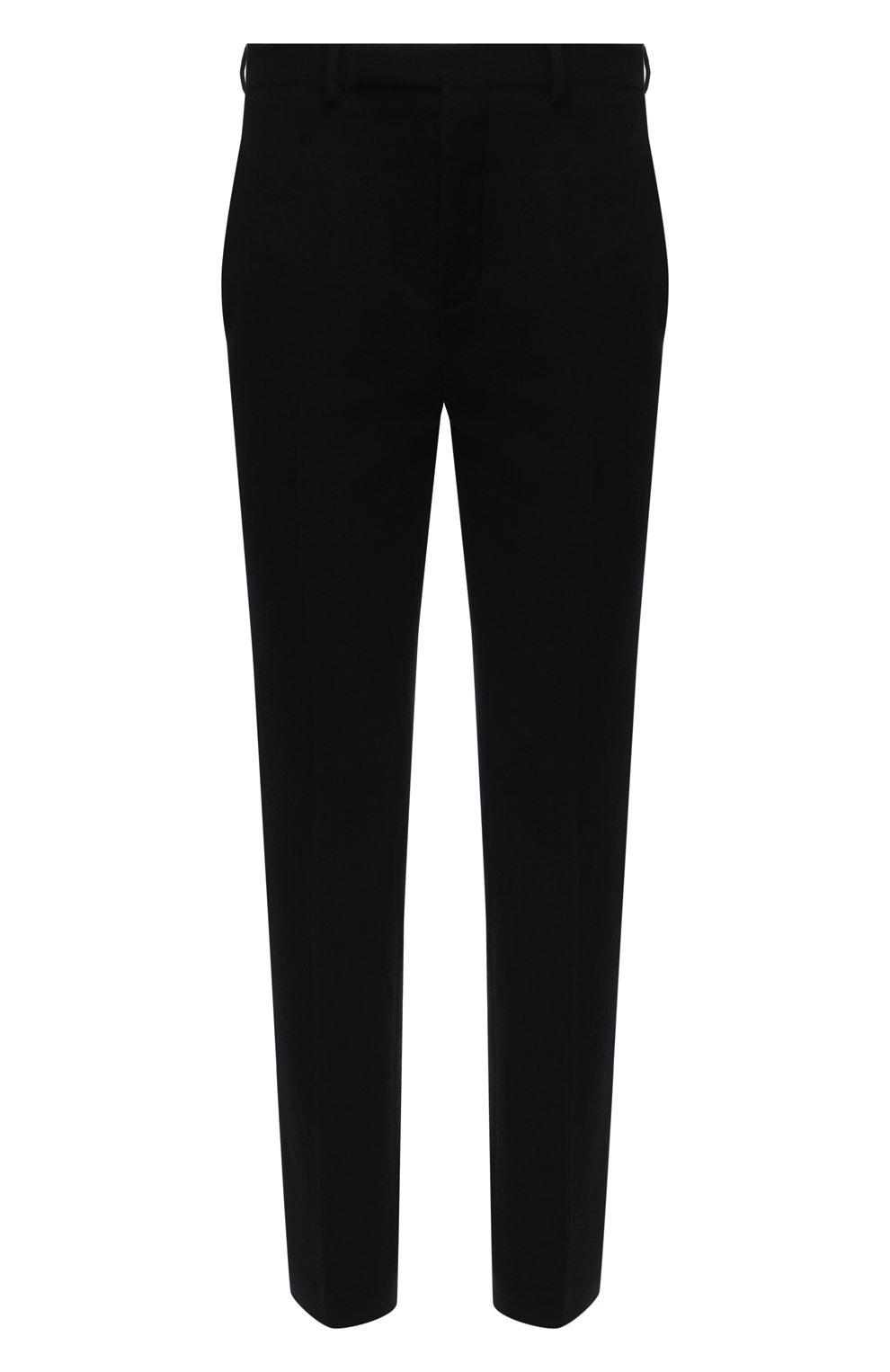 Мужские брюки из хлопка и шерсти RICK OWENS черного цвета, арт. RU20F3374/WCF   Фото 1