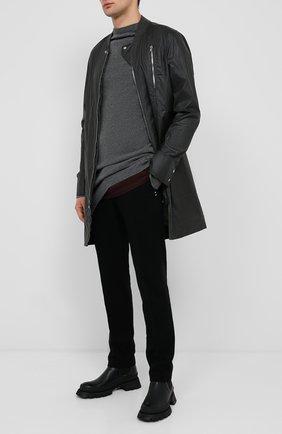 Мужские брюки из хлопка и шерсти RICK OWENS черного цвета, арт. RU20F3374/WCF   Фото 2
