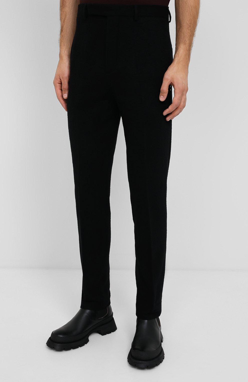 Мужские брюки из хлопка и шерсти RICK OWENS черного цвета, арт. RU20F3374/WCF   Фото 3