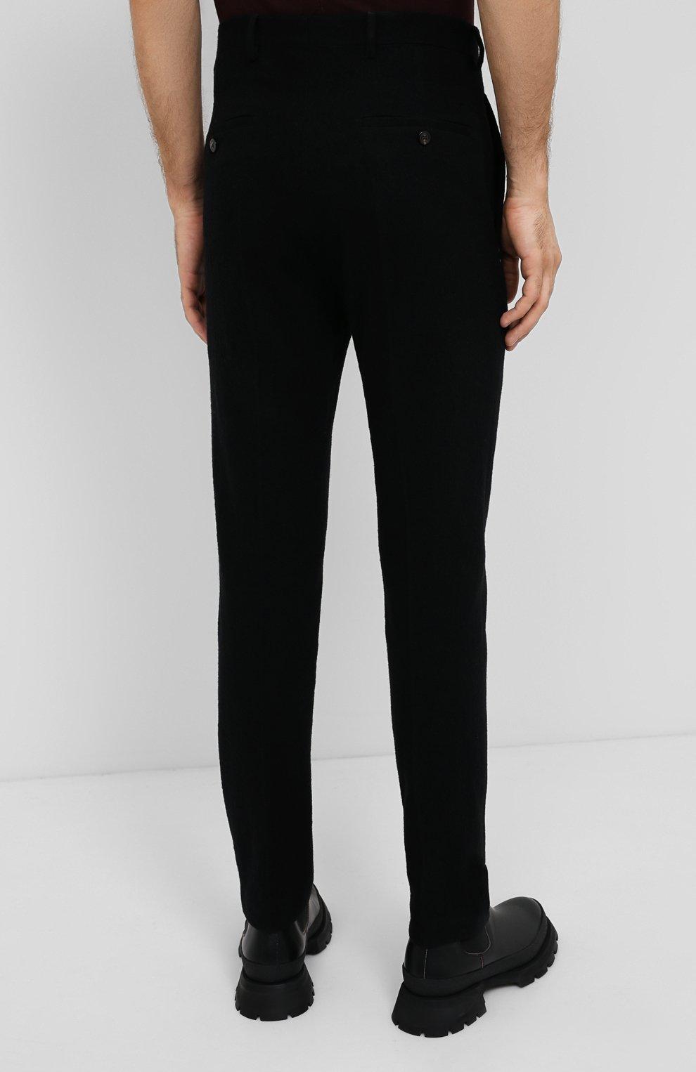 Мужские брюки из хлопка и шерсти RICK OWENS черного цвета, арт. RU20F3374/WCF   Фото 4