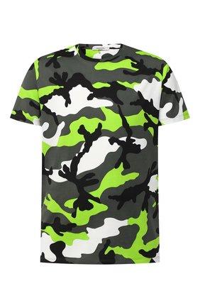 Мужская хлопковая футболка VALENTINO зеленого цвета, арт. UV3MG00W3M0 | Фото 1
