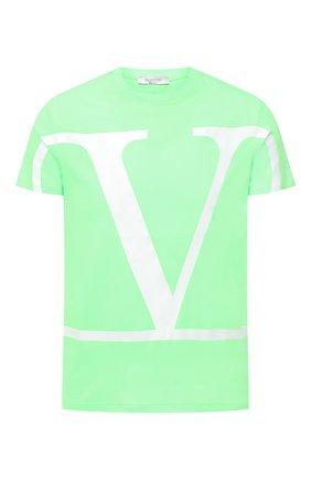 Мужская хлопковая футболка VALENTINO зеленого цвета, арт. UV3MG05S63Q | Фото 1