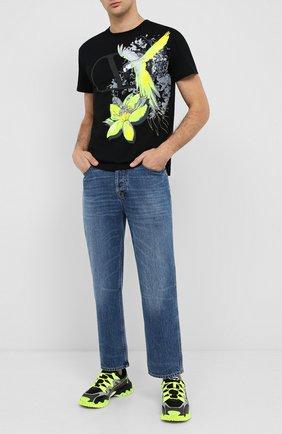 Мужская хлопковая футболка VALENTINO черного цвета, арт. UV3MG07X6JG | Фото 2