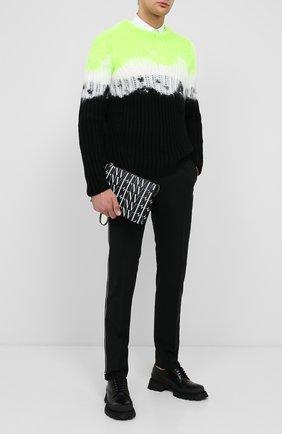 Мужская кожаная борсетка valentino garavani VALENTINO черно-белого цвета, арт. UY2P0P09/GTC | Фото 2