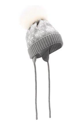 Детского шерстяная шапка с меховым помпоном CATYA серого цвета, арт. 024671/A | Фото 1