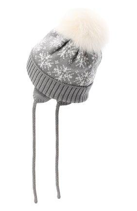 Детского шерстяная шапка с меховым помпоном CATYA серого цвета, арт. 024671/A | Фото 2
