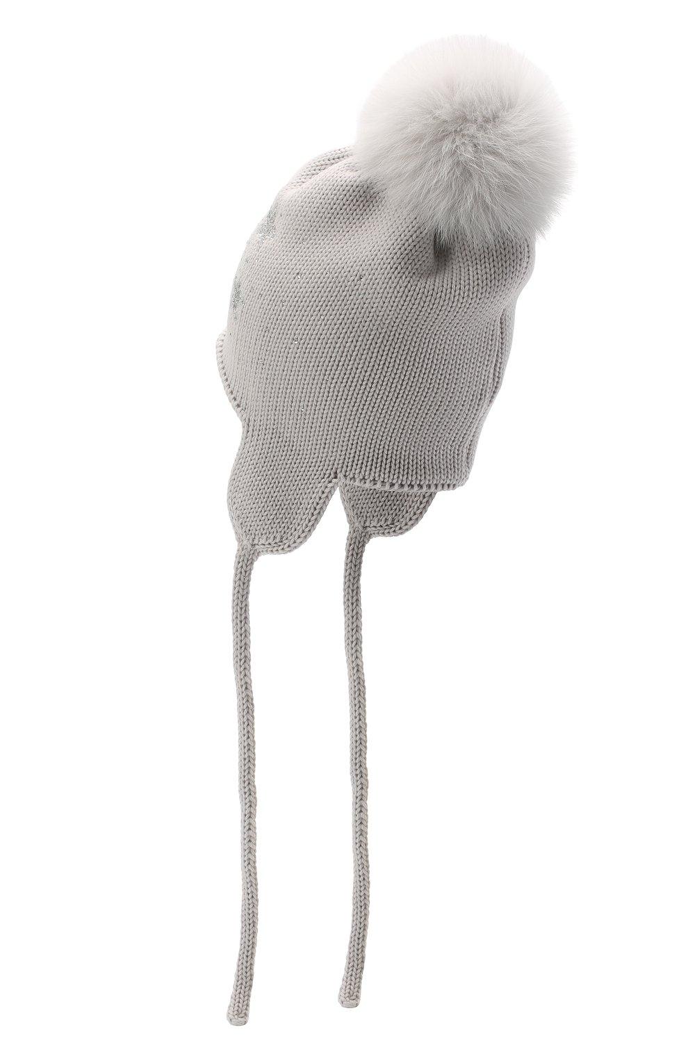 Детского шерстяная шапка с меховым помпоном CATYA серого цвета, арт. 024664/D | Фото 2
