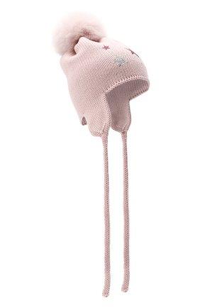 Детского шерстяная шапка с меховым помпоном CATYA розового цвета, арт. 024664/D | Фото 1