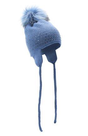 Детского шерстяная шапка с меховым помпоном CATYA синего цвета, арт. 024663/D | Фото 1