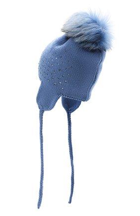 Детского шерстяная шапка с меховым помпоном CATYA синего цвета, арт. 024663/D | Фото 2