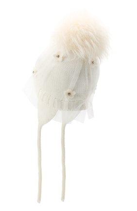 Детского шерстяная шапка с меховым помпоном CATYA белого цвета, арт. 024660/AJ | Фото 2