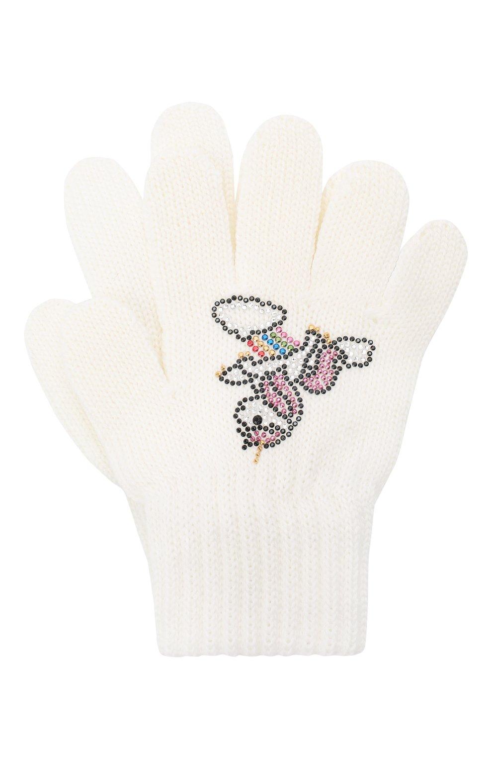 Детские шерстяные перчатки CATYA белого цвета, арт. 024532 | Фото 1 (Материал: Шерсть)