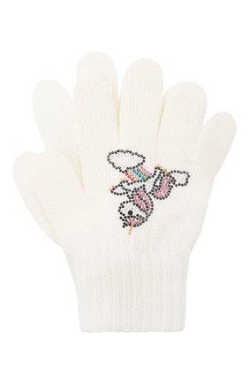Детские шерстяные перчатки CATYA белого цвета, арт. 024532 | Фото 1