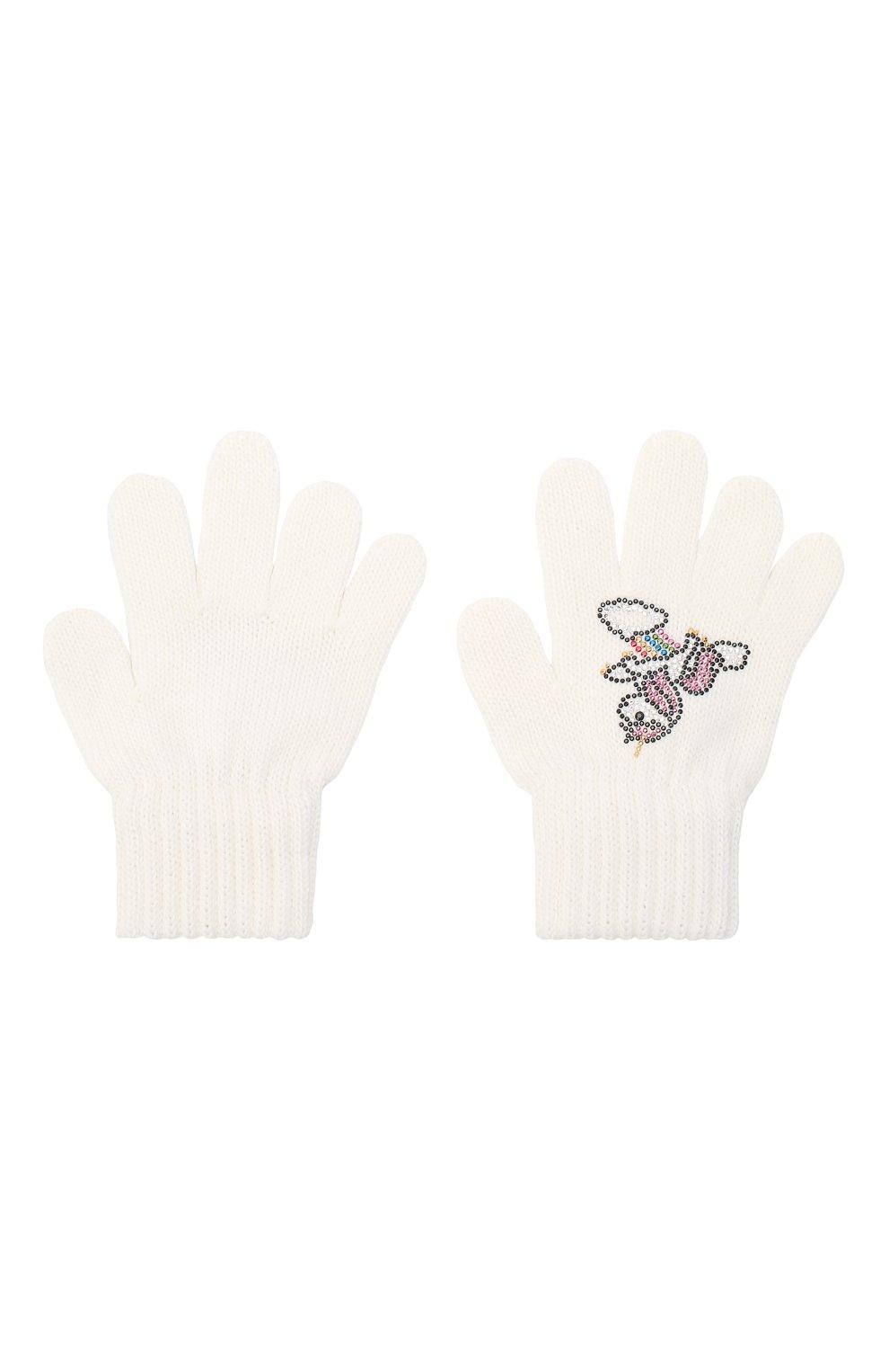 Детские шерстяные перчатки CATYA белого цвета, арт. 024532 | Фото 2 (Материал: Шерсть)