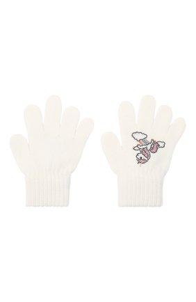 Детские шерстяные перчатки CATYA белого цвета, арт. 024532 | Фото 2