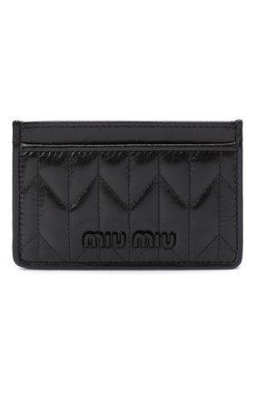 Женский кожаный футляр для кредитных карт MIU MIU черного цвета, арт. 5MC208-2D6C-F0002 | Фото 1