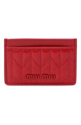 Женский кожаный футляр для кредитных карт MIU MIU красного цвета, арт. 5MC208-2D6C-F0011 | Фото 1