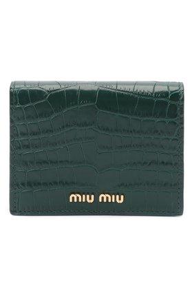 Женские кожаное портмоне MIU MIU зеленого цвета, арт. 5MV204-2B8G-F077U | Фото 1