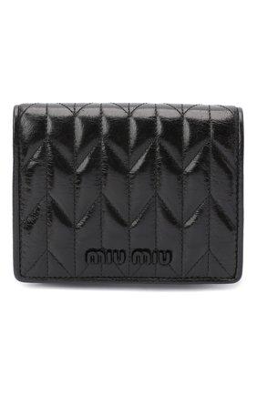 Женские кожаное портмоне MIU MIU черного цвета, арт. 5MV204-2D6C-F0002 | Фото 1