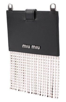 Женский кожаный футляр для кредитных карт MIU MIU черного цвета, арт. 5DH020-2D5M-F0002 | Фото 2