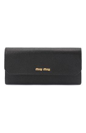 Женские кожаное портмоне MIU MIU черного цвета, арт. 5MH379-2EW8-F0002 | Фото 1
