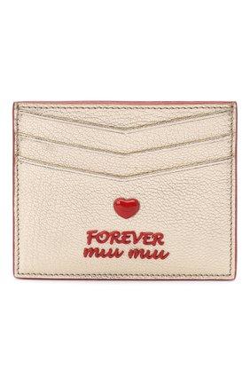 Женский кожаный футляр для кредитных карт MIU MIU золотого цвета, арт. 5MC002-2BQ3-F0846 | Фото 1