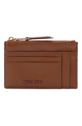 Женский кожаный футляр для кредитных карт MIU MIU бежевого цвета, арт. 5MC446-34-F0134 | Фото 1