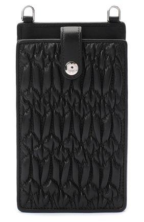 Мужского кожаный чехол для iphone MIU MIU черного цвета, арт. 5ZH079-FVJ-F0002   Фото 1