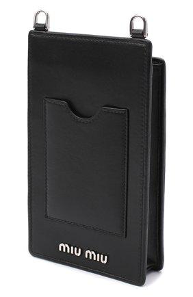 Мужского кожаный чехол для iphone MIU MIU черного цвета, арт. 5ZH079-FVJ-F0002   Фото 2