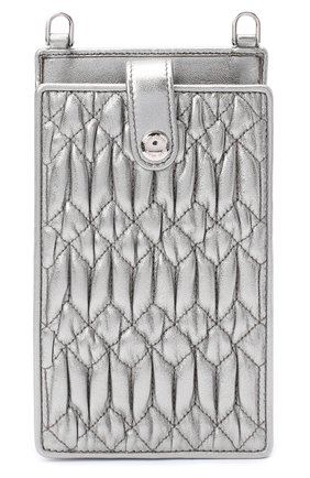 Мужского кожаный чехол для iphone MIU MIU серебряного цвета, арт. 5ZH079-FVJ-F0135   Фото 1