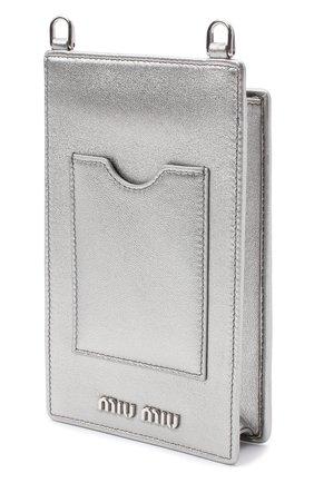 Мужского кожаный чехол для iphone MIU MIU серебряного цвета, арт. 5ZH079-FVJ-F0135   Фото 2