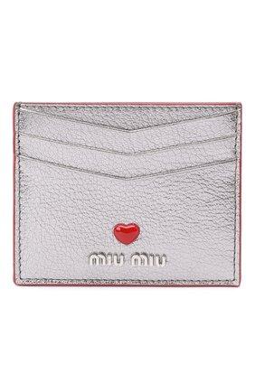 Женский кожаный футляр для кредитных карт MIU MIU серебряного цвета, арт. 5MC002-2BC3-F0135 | Фото 1