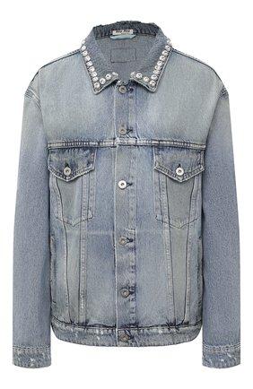 Женская джинсовая куртка MIU MIU синего цвета, арт. GWB060-1S90-F0013   Фото 1