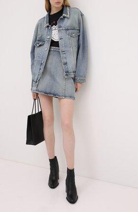 Женская джинсовая куртка MIU MIU синего цвета, арт. GWB060-1S90-F0013   Фото 2