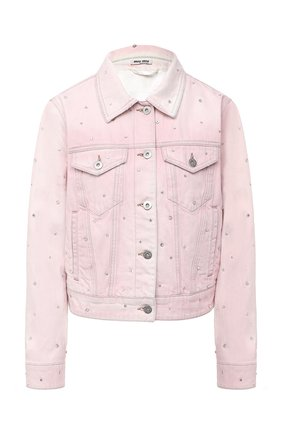 Женская джинсовая куртка MIU MIU розового цвета, арт. GWB070-1VZT-F0028 | Фото 1