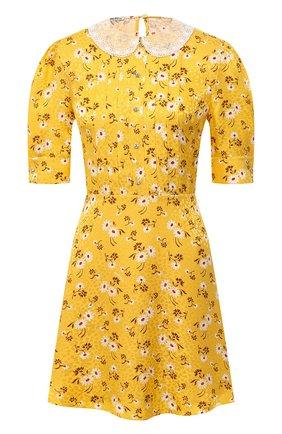Женское шелковое платье MIU MIU синего цвета, арт. MF3584-1V9B-F0388 | Фото 1